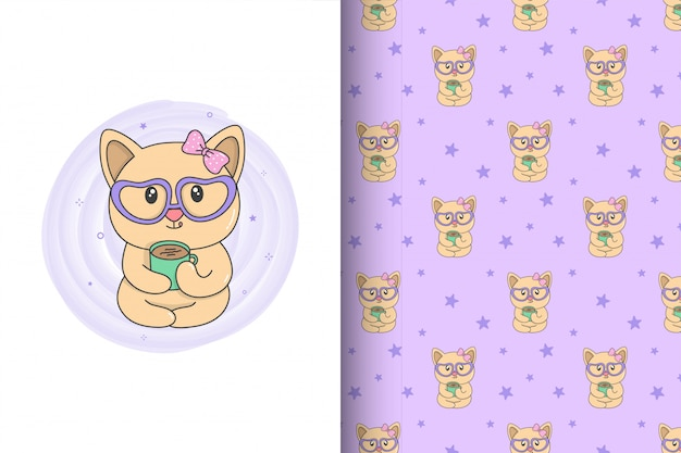 Cute cat drink coffee and seamless pattern.