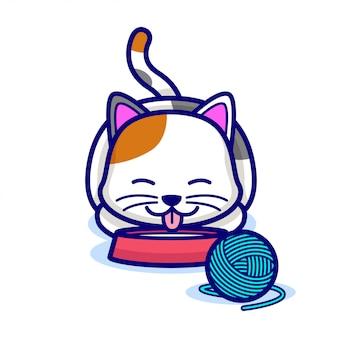 Cute cat drink milk on bowl