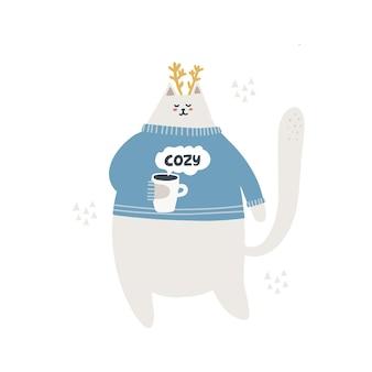 ホットココアを飲むかわいい猫。手描きのベクトル図です。居心地の良いレタリング。