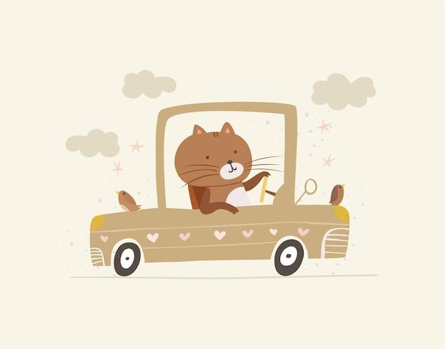 자동차 그림에 귀여운 고양이 드라이버