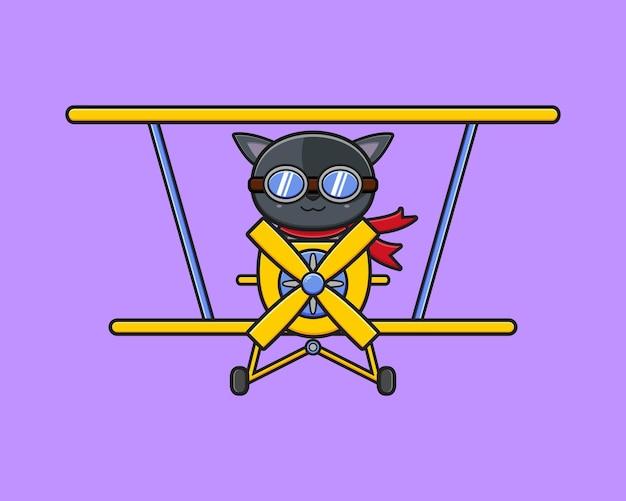 Милый кот за рулем самолета мультяшный значок иллюстрации. дизайн изолированные плоский мультяшном стиле