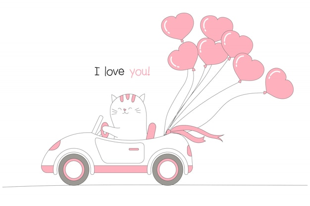 Cute cat driving a car with heart shape balloons.