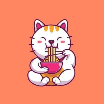 Милый кот ест рамэн лапшу