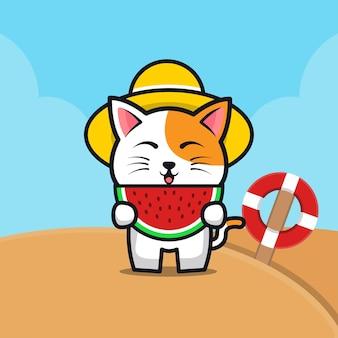 Cute cat eat watermelon on the beach cartoon   illustration