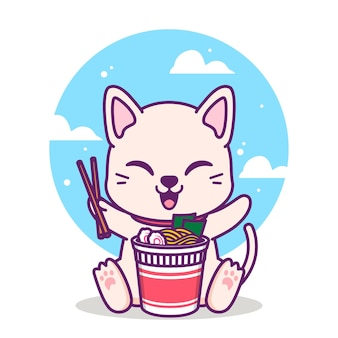 Cute cat eating a cup of noodle