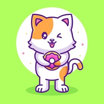 Милый кот ест пончик животное животное логотип вектор значок иллюстрации в плоском стиле