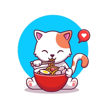 Cute cat eating noodle with chopstick cartoon icon illustration. animal food icon concept isolated premium . flat cartoon style