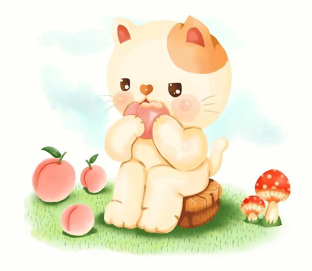 디지털 페인트 기법으로 그린 복숭아를 먹는 귀여운 고양이.