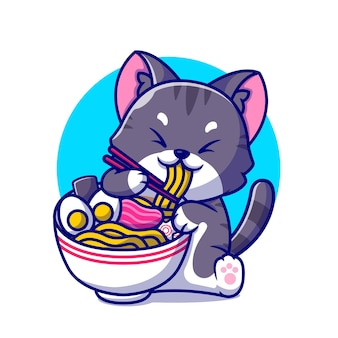 Cute cat eating ramen noodle with chopstick cartoon icon illustration