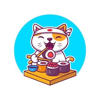 Милый кот ест суши мультфильм значок иллюстрации. еда животных значок концепции изолированы. плоский мультяшный стиль