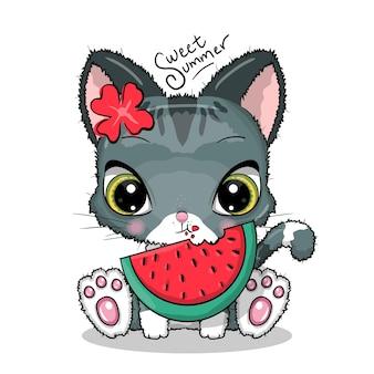 スイカのイラストを食べるかわいい猫
