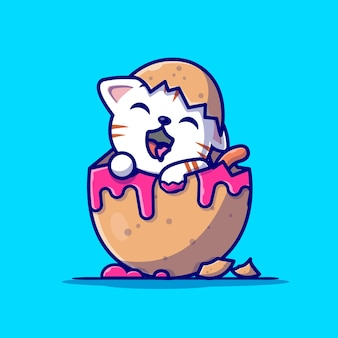 Cute cat in egg cartoon illustration