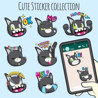 Коллекция наклеек с симпатичными кошками