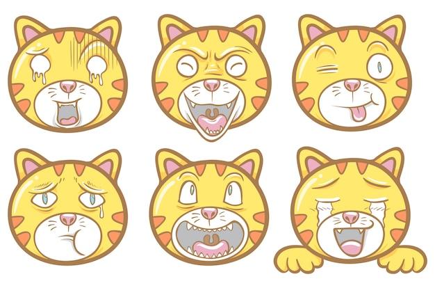 Cute cat emoticons illustration sticker chat set