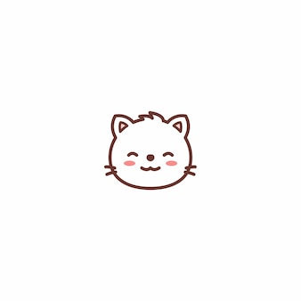 Cute cat face cartoon icon
