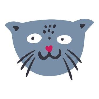귀여운 고양이 얼굴. 고양이 캐릭터. 아동복에 인쇄하십시오. 보육원의 아기 포스터입니다.