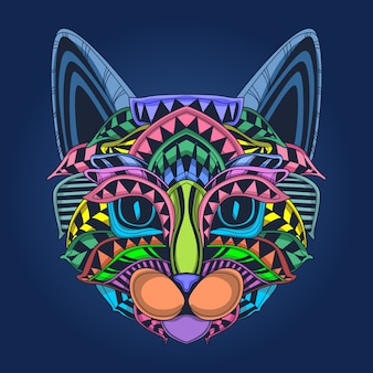 Cute cat face in pop color