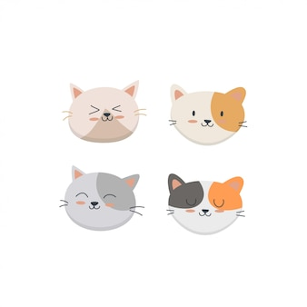 Cute cat face set