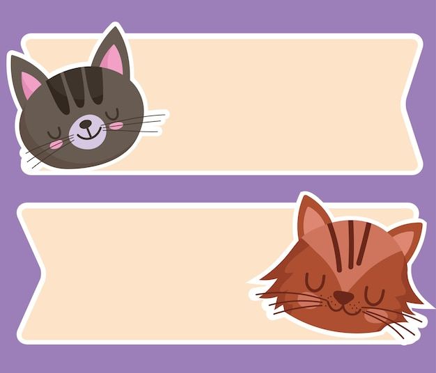Cute cat faces animals cartoon pet and banners template  illustration