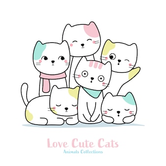 Cute cat family animal hand drawn style