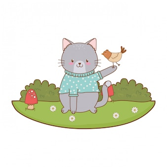 Cute cat in the field woodland character