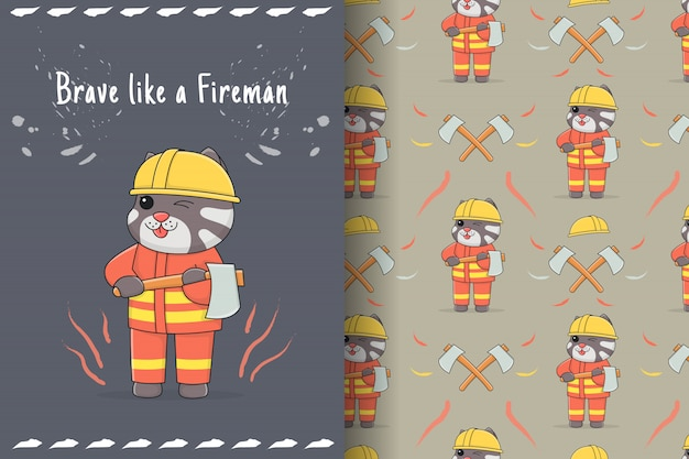 Cute cat fireman seamless pattern and card