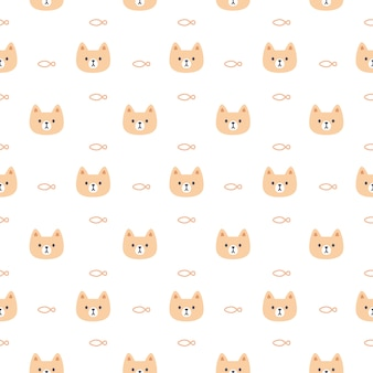 Cute cat and fish seamless pattern