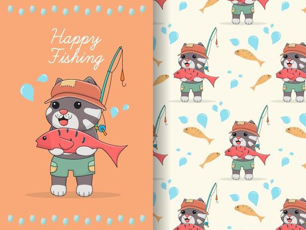 Милый кот рыбак связка бесшовные модели и карты