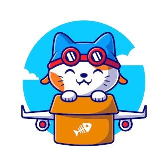 Volo sveglio del gatto con l'illustrazione dell'icona di vettore del fumetto dell'aereo di cartone. concetto di icona di trasporto animale isolato vettore premium. stile cartone animato piatto