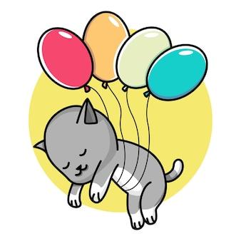 風船と浮かぶかわいい猫漫画イラスト