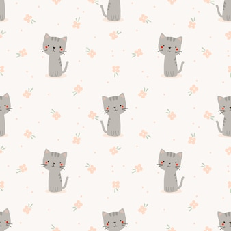 Cute cat and flower seamless pattern.