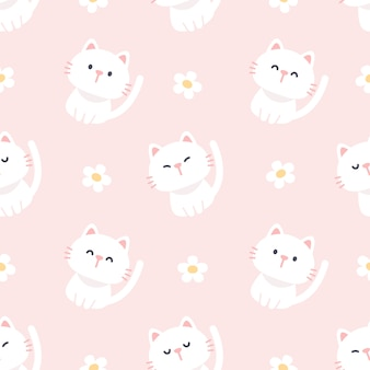 Cute cat and flowers seamless pattern background