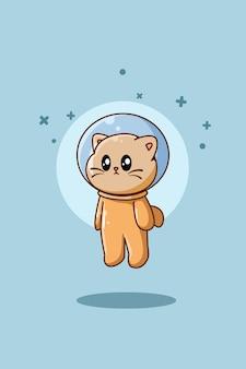 Cute cat flying animal cartoon illustration