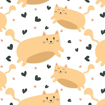 Cute cat flying pattern with hearts