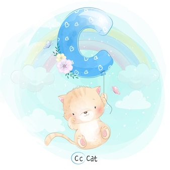 Cute cat flying with alphabet-c balloon