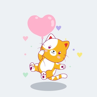 Cute cat flying with balloons