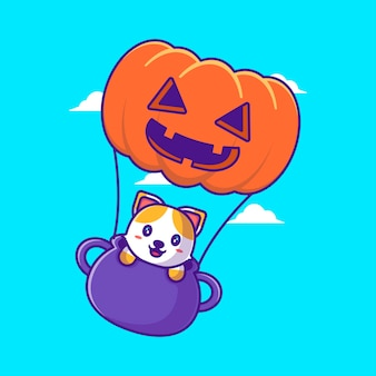 Милый кот летит с тыквенным шаром иллюстрации шаржа. хэллоуин плоский мультяшный стиль концепции
