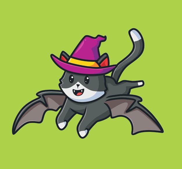 귀여운 고양이 비행 마법사 만화 동물 할로윈 이벤트 개념 격리 된 그림 평면 스타일