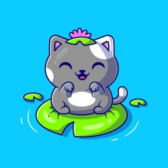 葉の漫画ベクトルアイコンイラストに座っているかわいい猫のカエル。動物の性質のアイコンの概念は、プレミアムベクトルを分離しました。フラット漫画スタイル