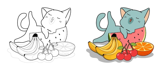 Cute cat and fruits cartoon coloring page for kids