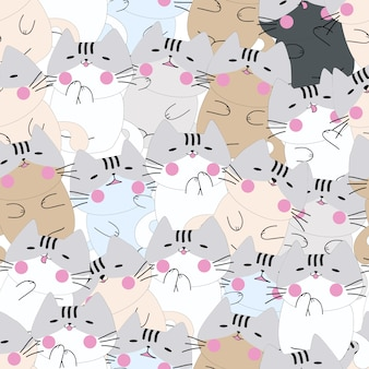 Cute cat funny sleeping seamless pattern