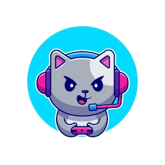 Cute cat gaming cartoon