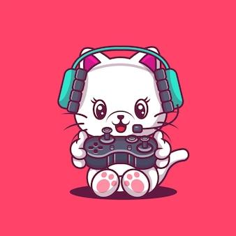 Милый кот игровой иллюстрации. игра животных.