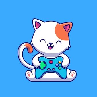 Милый кот игры с мультяшной игровой приставкой