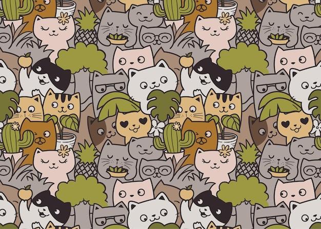 Cute cat gardening pattern doodle background