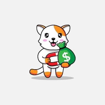 Милый кот достает сумку с деньгами с магнитом