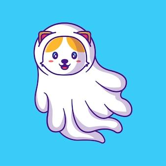 Cute cat ghost cartoon illustration. halloween flat cartoon style concept