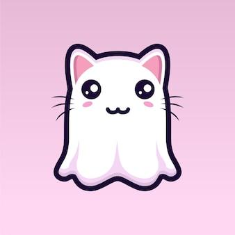 귀여운 고양이 유령 캐릭터 디자인