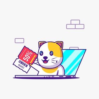 노트북 만화 그림에서 귀여운 고양이 선물 할인 쿠폰. 동물 및 플래시 판매 평면 만화 스타일 개념