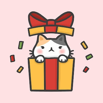 Cute cat in gift box surprise christmas hand drawn cartoon style